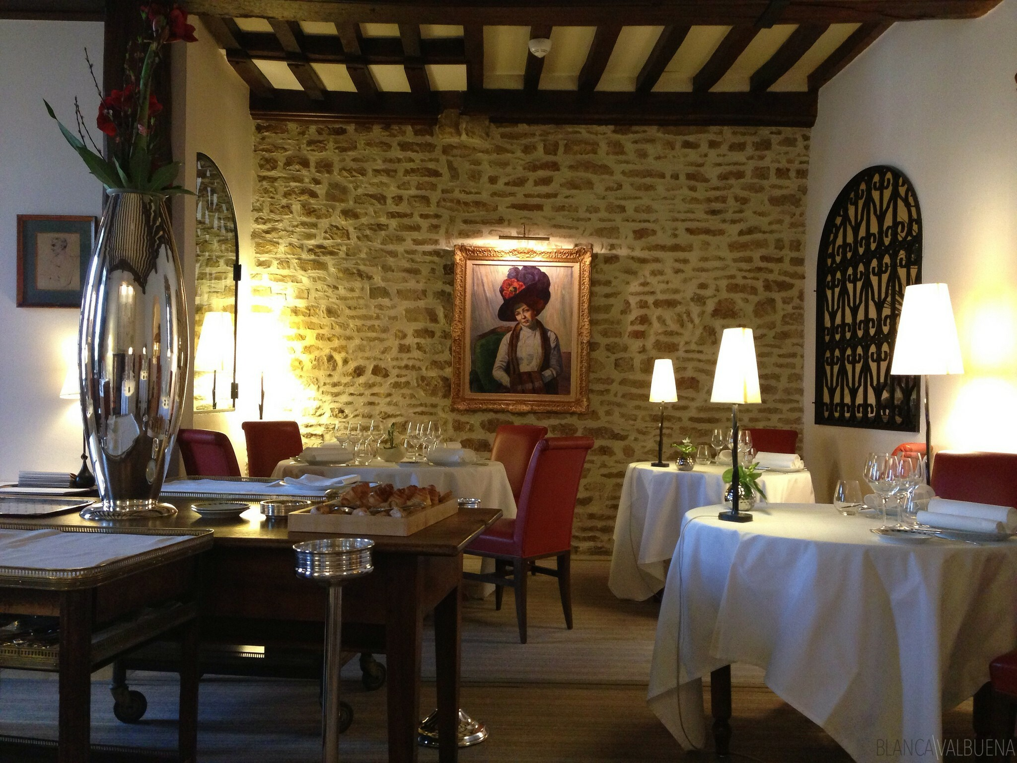 The decor at Maison Lameloise in Burgundy