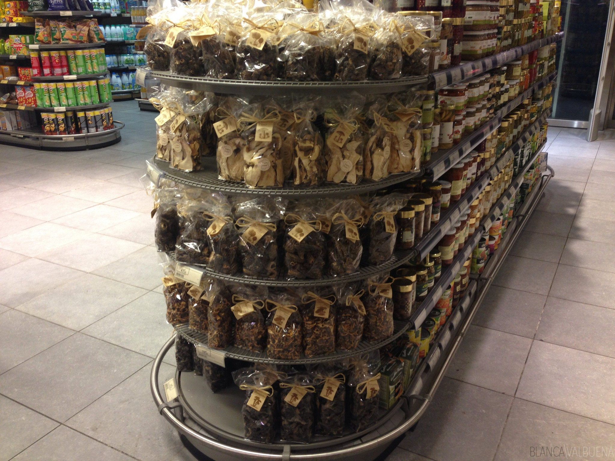 There are all types of dried mushrooms at this store in Paris