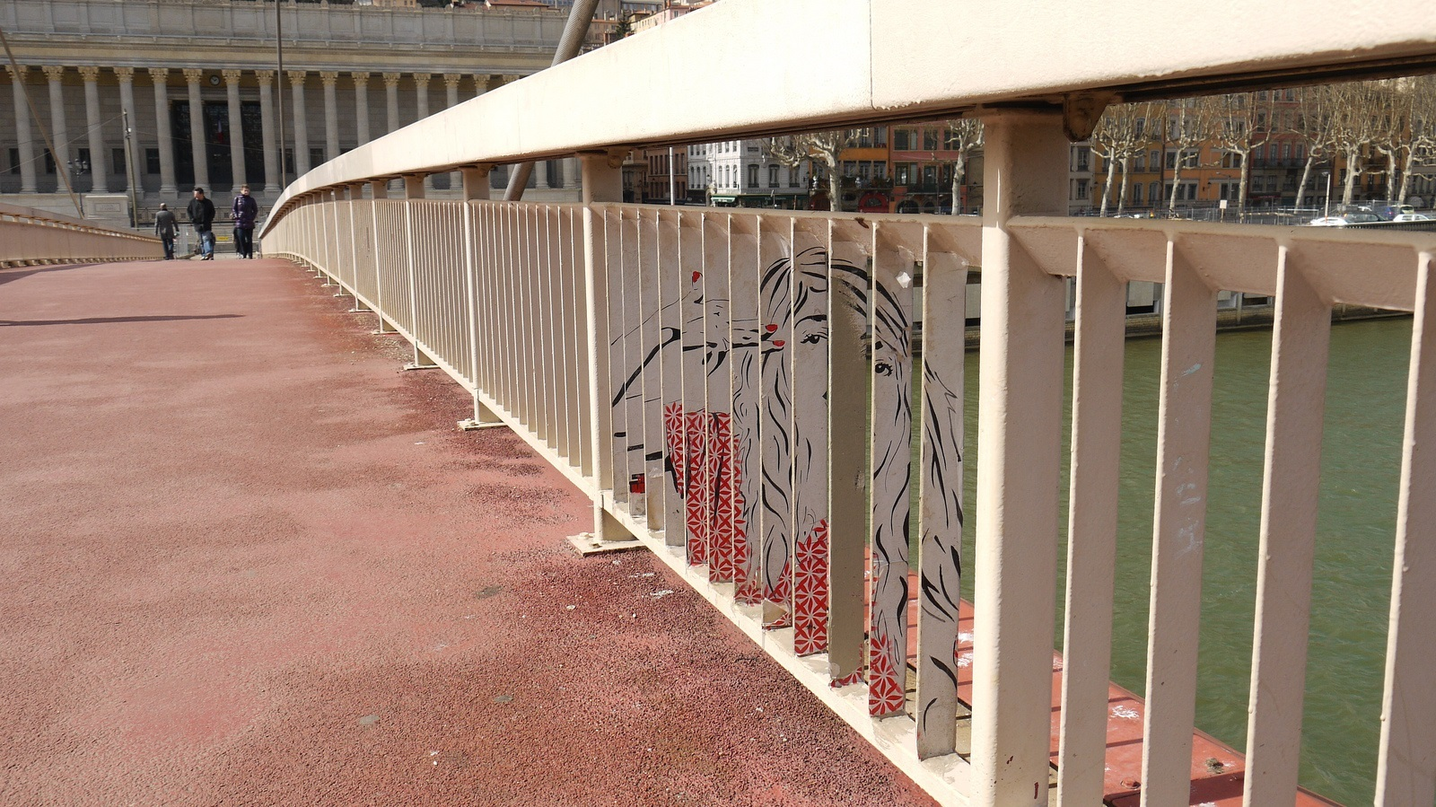 Art on bridge in lyon france