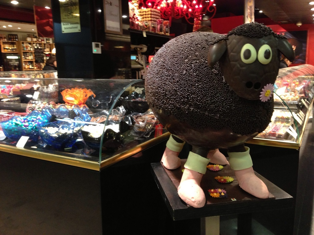 chocolate easter sheep les halles de paul bocuse