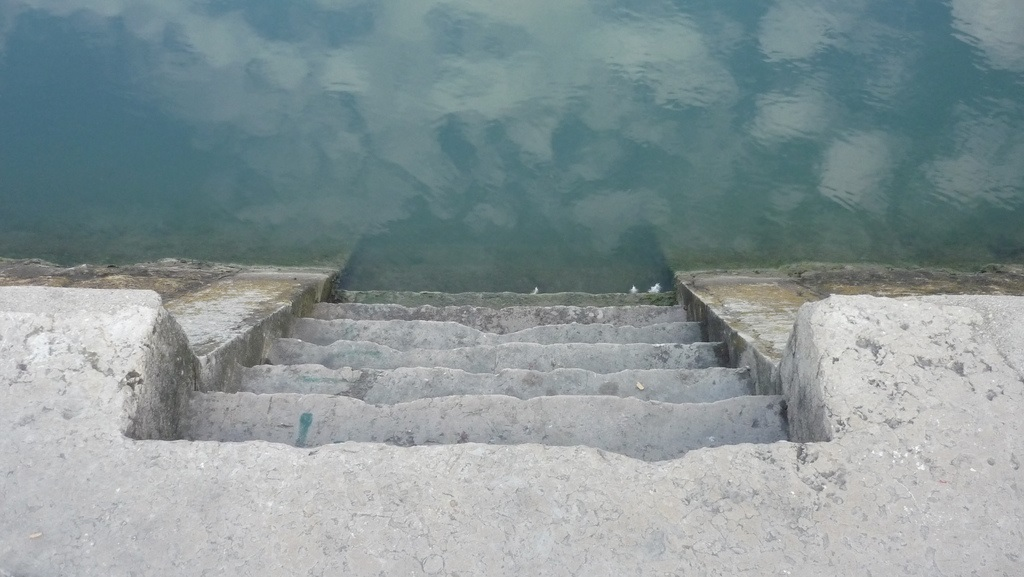 Stairs into the Rhone River in Lyon France