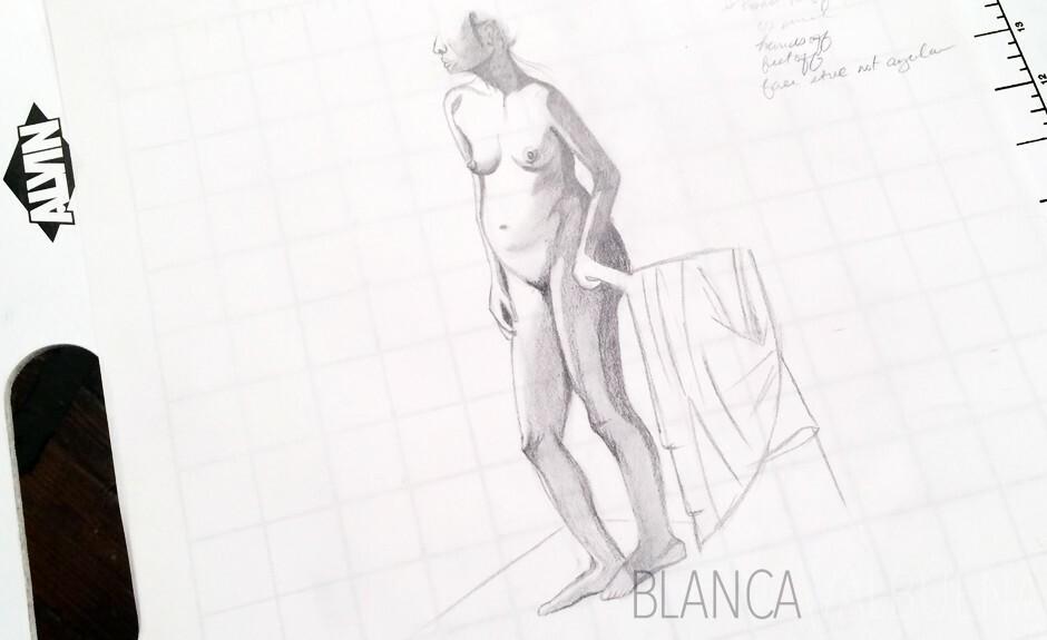 Blanca dibujo de modelo vivo Valbuena