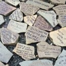 Sculpture in Riverside Park in New York with rocks with love notes