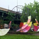 Colorful Dynamic Sculpture in Riverside Park