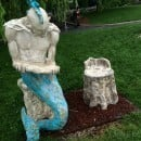 Merman made of cast stone and glass tiles for Riverside Park