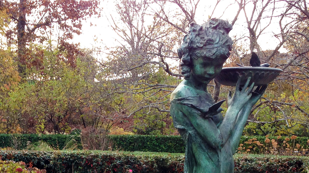 Sculpture Girl with Bird Bath