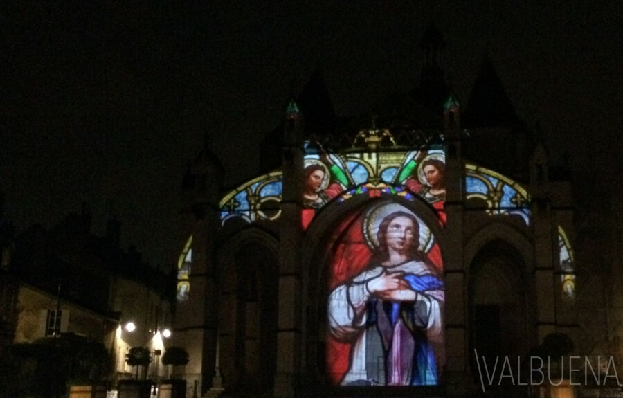 Projected images onto the Main church in Beaune France
