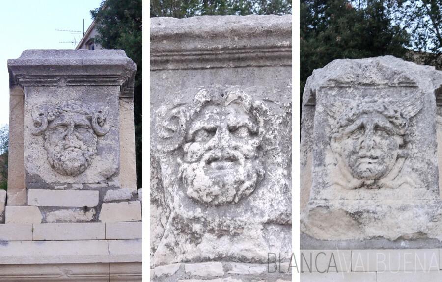 Roman gods depicted on columns in Zadar
