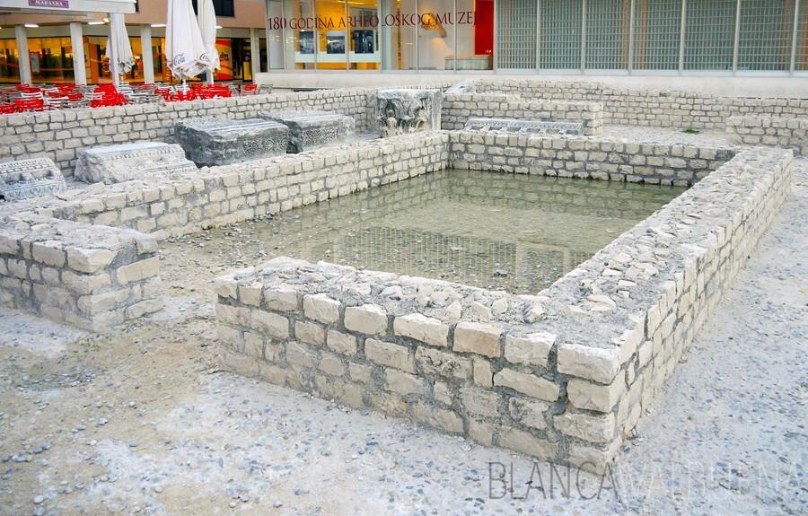Roman ruins in the Roman forum in Croatia