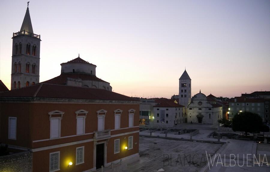 Roman forum in Zadar at Dusk