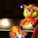 Parade of glowing puppets in Lyon's Festival of Lights