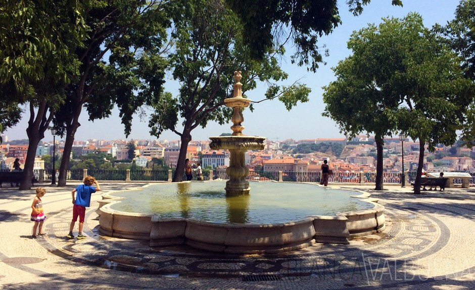 Fountain near Bairro Alto and Principe Real by outlook point