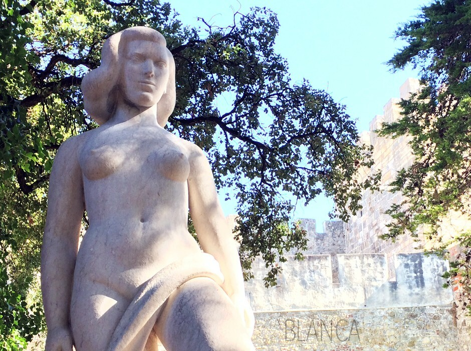 Sculpture of Olisipona at the Castle of St. George in Lisbon, Portugal