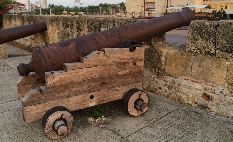 Cannon on a crenellation on the walls of the old city of Cartagena Colombia