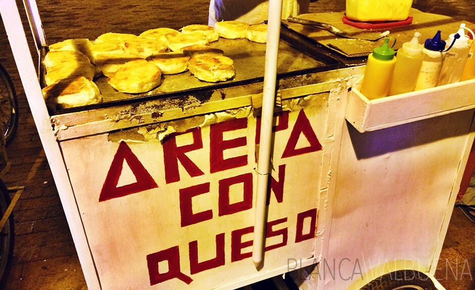 Arepa con queso are one of many types of Colombian Arepas