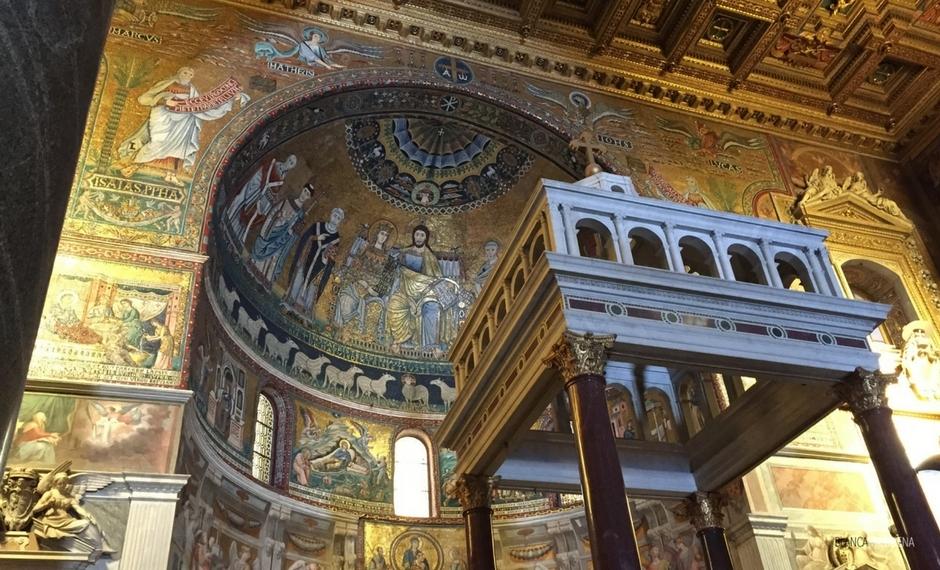 Marian Mosaicos em Santa Maria em Trastevere