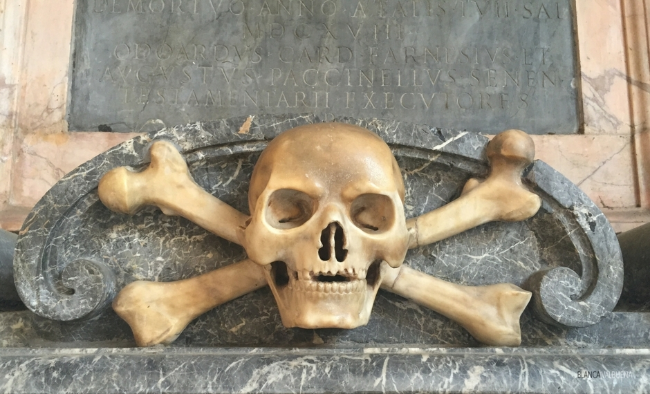 Classic imagery of skull and bones at Santa Cecilia in Trastevere Rome