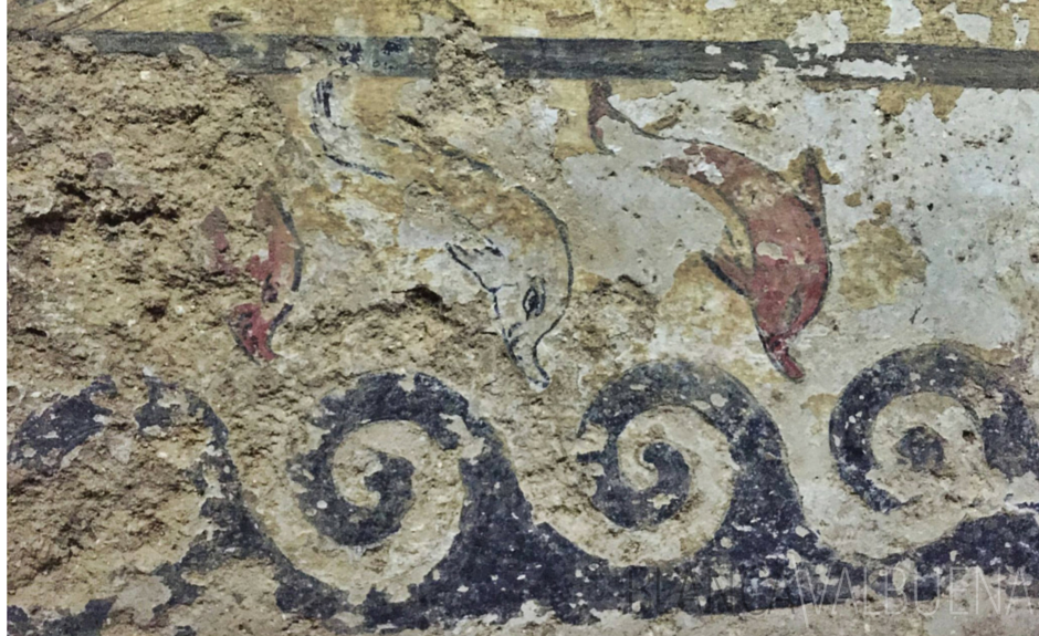 Dolphins are often seen in Etruscan funerary art