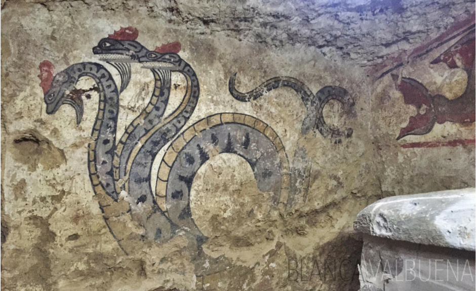 Etruscan Snake Demon in Tomb in Sarteano
