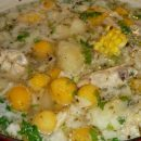 Ajiaco is a soup made with chicken, three varieties of potatoes and guascas