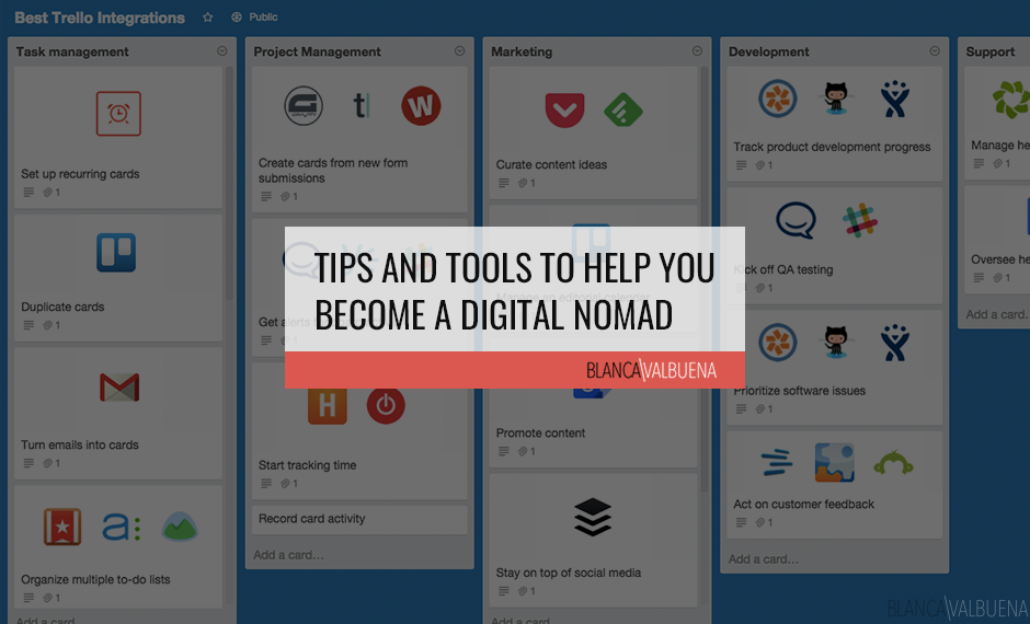 A list of Tips and Tools for Digital Nomads to manage their business while on long term travel