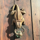 Amphibians and reptiles are common themes for Cartagena's door knockers