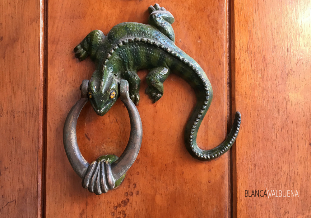 Iguanas are common themes in Cartagena's door knockers