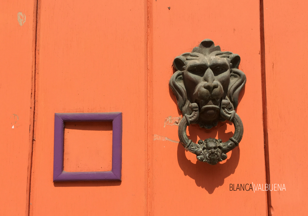 A colorful door in cartagena colombia