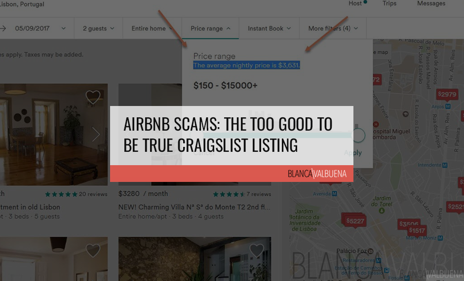 Airbnb Scams include Craigslist listing