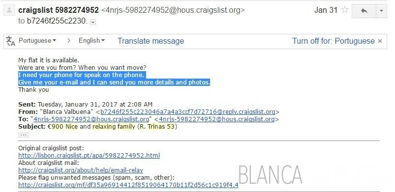 Une liste Craigslist qui vous demande automatiquement de se déplacer hors plate-forme est fishy