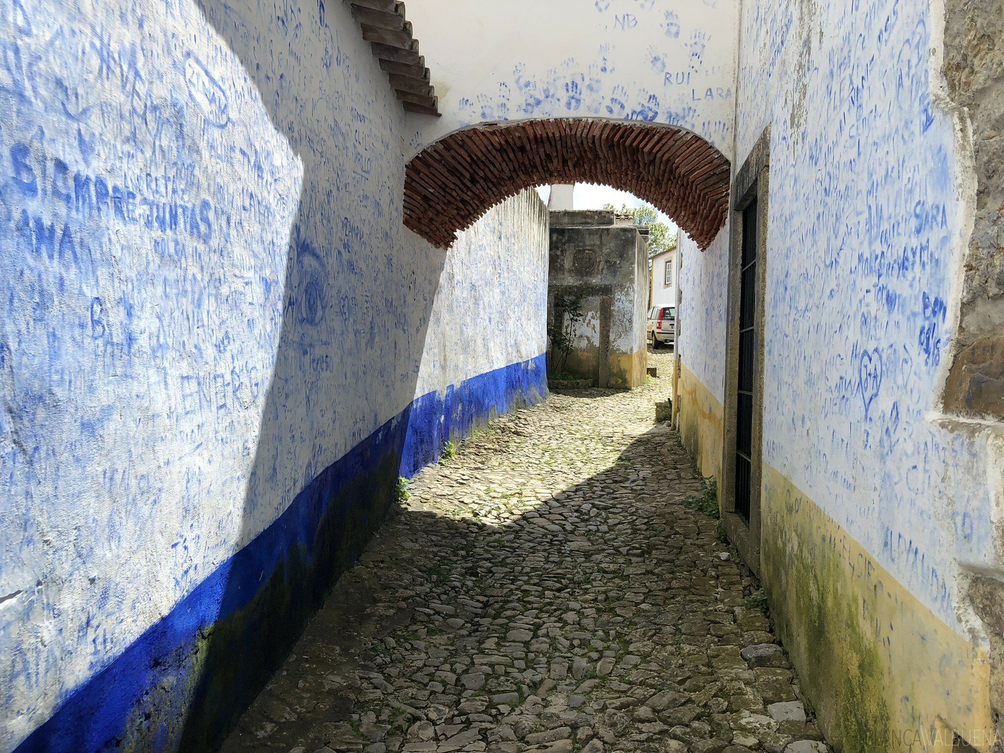 alley covered in blue graffiti