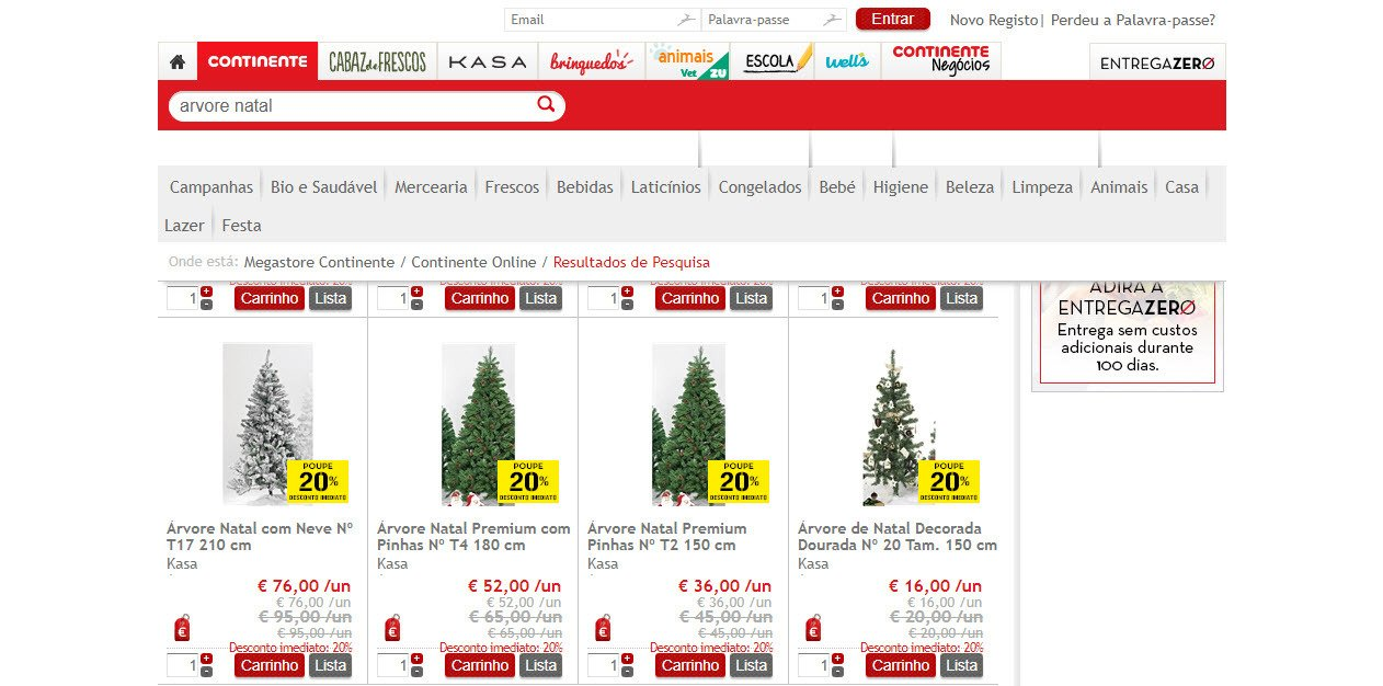 You can buy a Christmas tree in Continente in Lisbon
