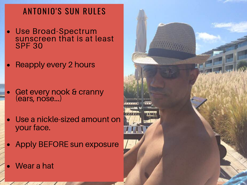Rules for wearing sunscreen